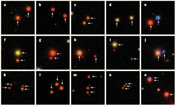 "Three-color composite images of a sample of ultra-wide binary star systems, out of more than 1,300 such systems identified in the Sloan Digital Sky Survey. Each image is 50 arcseconds on a side, corresponding to physical separations of the binary systems of up to one parsec. The systems include ""identical twins"" (a–d) and non-identical twins (e–j). In some cases, the systems are found to be triplets (l–o) or even quadruplets (k). (Saurav Dhital/Vanderbilt, Boston University)"