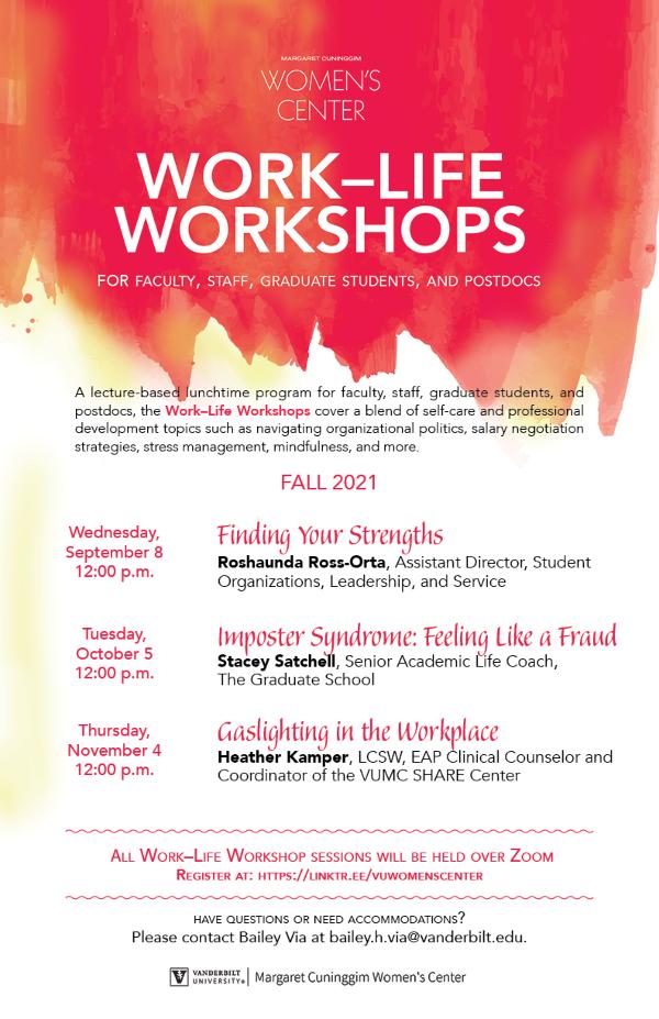 Margaret Cuninggim Women's Center Work-Life Workshops schedule for fall 2021