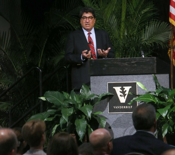 Chancellor Nicholas S. Zeppos delivered his annual fall address to faculty Aug. 25 at the Student Life Center. (Steve Green/Vanderbilt)