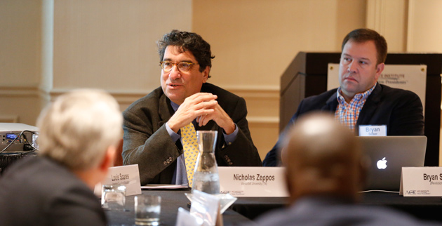 Chancellor Nicholas S. Zeppos addresses the Nashville meeting of the 2014-15 ACE Institute for New Presidents. (John Russell/Vanderbilt)