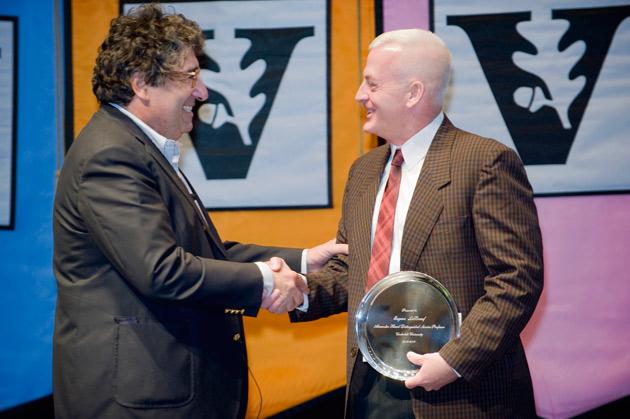Chancellor Nicholas S. Zeppos and Gene LeBoeuf, winner of the Alexander Heard Distinguished Service Professor Award. (Vanderbilt University)