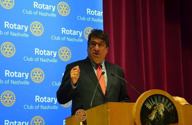 Chancellor Nicholas S. Zeppos addressed the Rotary Club of Nashville on Aug. 27.