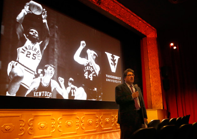 "Chancellor Nicholas S. Zeppos introduced a screening of the documentary film ""Triumph: The Untold Story of Perry Wallace"" Nov. 8 at the Belcourt Theater. (Steve Green/Vanderbilt)"