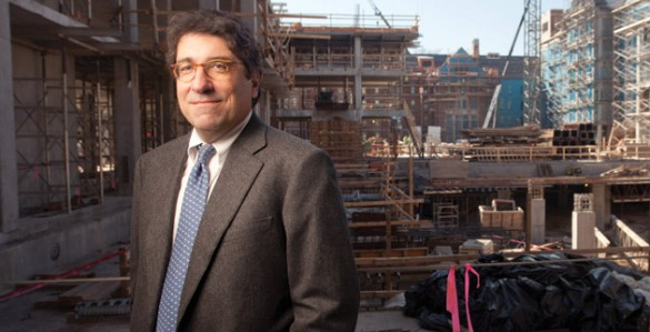 On the eve of his fifth anniversary as chancellor, Nicholas S. Zeppos surveys the progress being made at the College Halls construction site. (Daniel Dubois/Vanderbilt)