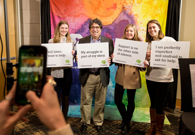 """Chancellor Nicholas S. Zeppos and students at the """"GO THERE"""" campaign kickoff Jan. 27 at the Student Life Center. (Vanderbilt University)"""