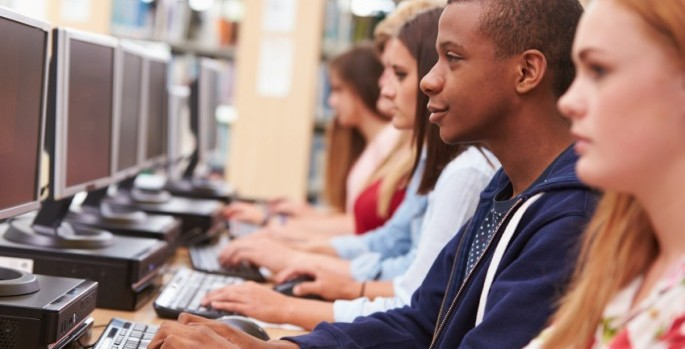 african american boy in computer class