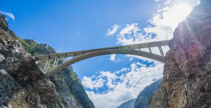 Bridge spanning a gorge