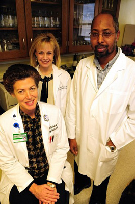 Tina Hartert, M.D., MPH, left, Kathryn Miller, M.D., MPH, and Yarris Muhammed are on the team studying the links between rhinoviruses and bronchiolitis. (Mary Donaldson / Vanderbilt)