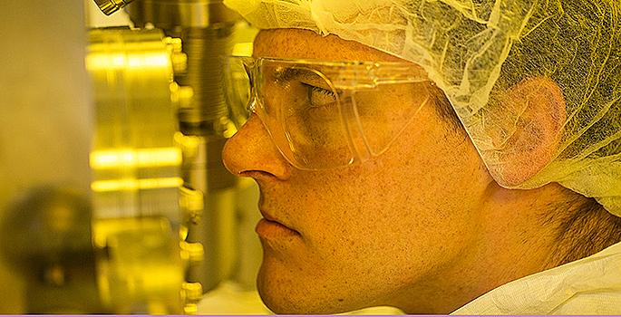 Scientist in clean room