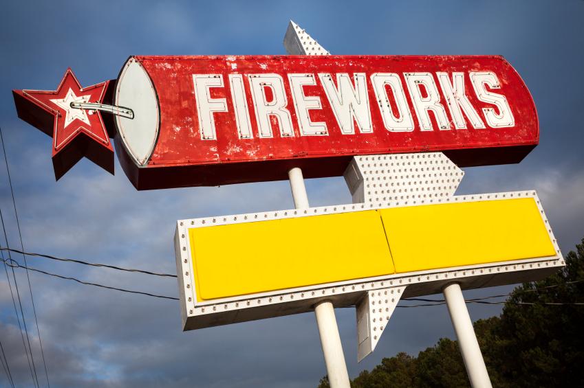 Fireworks for sale sign