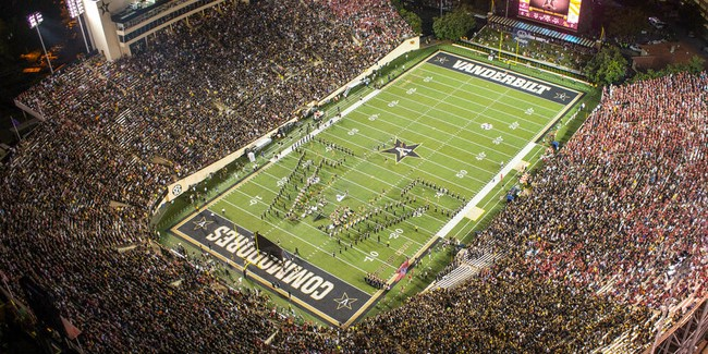 Aerial photo of Vanderbilt Stadium on football game day