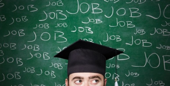 "New grad surrounded by the word ""Jobs"""