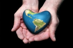 Heart shaped Earth graphic