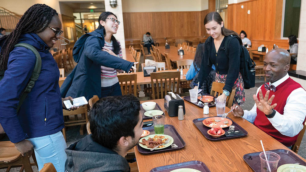 """Noble invites students for regular """"check-in"""" breakfasts at The Commons Center to get a better sense of how they are handling college life."""