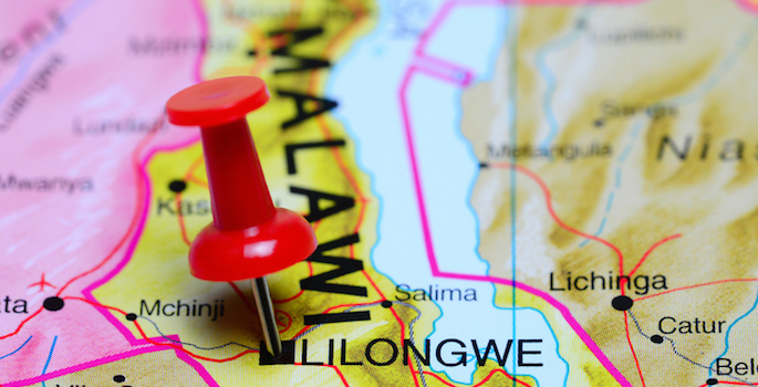 pushpin marking location of Malawi on the map