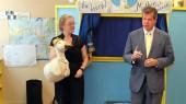 Puppet truck, mayor visit child care center