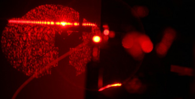 Patterns created by red laser in backscattering interferometer