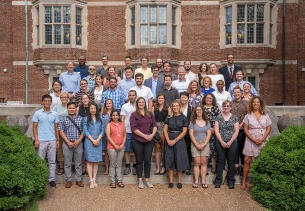 phtograph of 2021 new faculty members on steps of Alumni Hall
