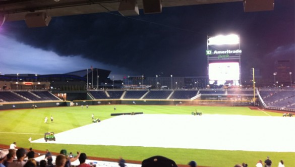 Rainy night in Omaha, game delayed