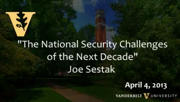 "Joe Sestak: ""After Afghanistan: The National Security Challenges of the Next Decade"""