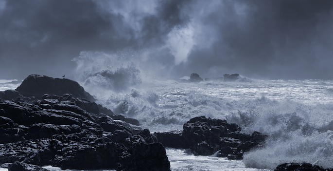 Typical sea storm from northern portuguese coast. Slightly enhanced sky. Toned blue.