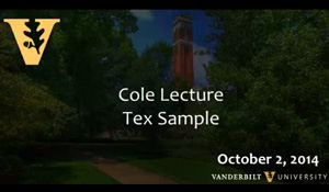 Video: Rev. Dr. Tex Sample Cole Lecture –  October 2, 2014