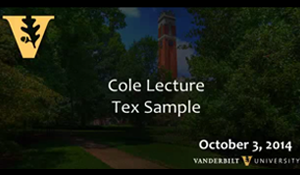 Video: Rev. Dr. Tex Sample Cole Lecture – October 3, 2014