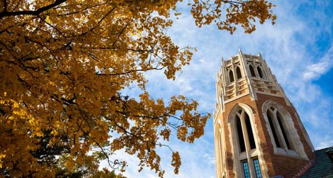 The tower of E. Bronson Ingram College