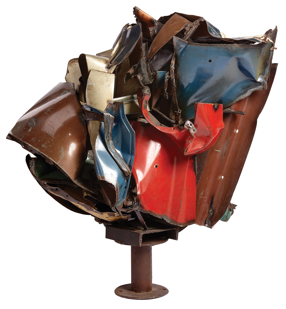 """""""Maz"""" by John Chamberlain, a 1960 sculpture of welded and painted steel, was loaned to the Guggenheim Museum in 2012 for a Chamberlain retrospective exhibit."""