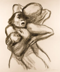 Death Seizes a Woman (1934), a lithograph by German artist Käthe Kollwitz (1867–1945)