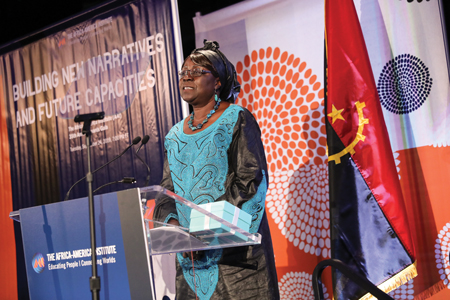 Ndong-Jatta accepts the 2019 Distinguished Alumna Award from the Africa-America Institute in September. Photo courtesy of the Africa-America Institute