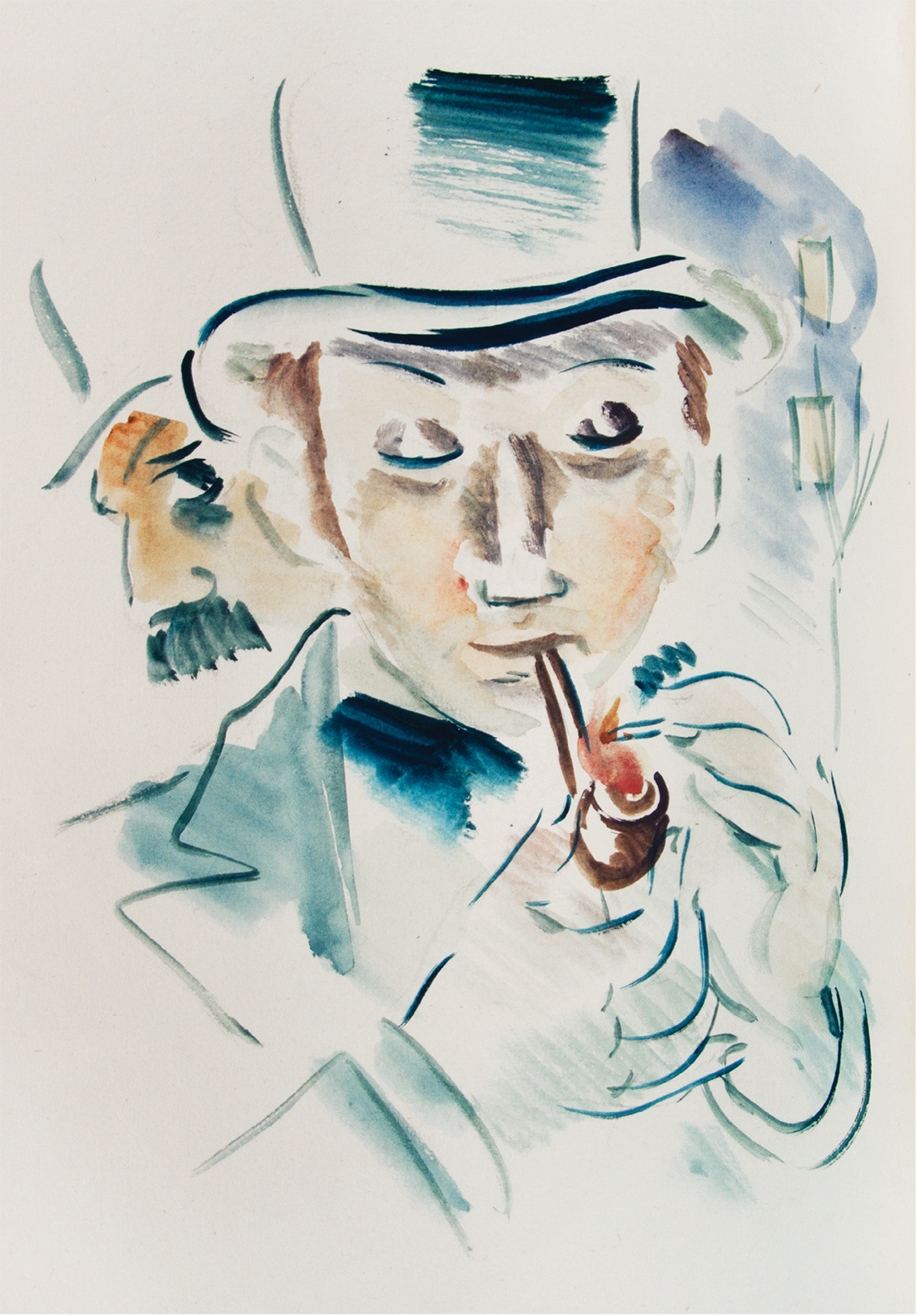 The program cover for the Verlaine celebration featured this watercolor illustration by artist László Barta (1902–1961) under the name of Brutus, for a 1936 edition of a collection of Verlaine's poems titled Hombres.