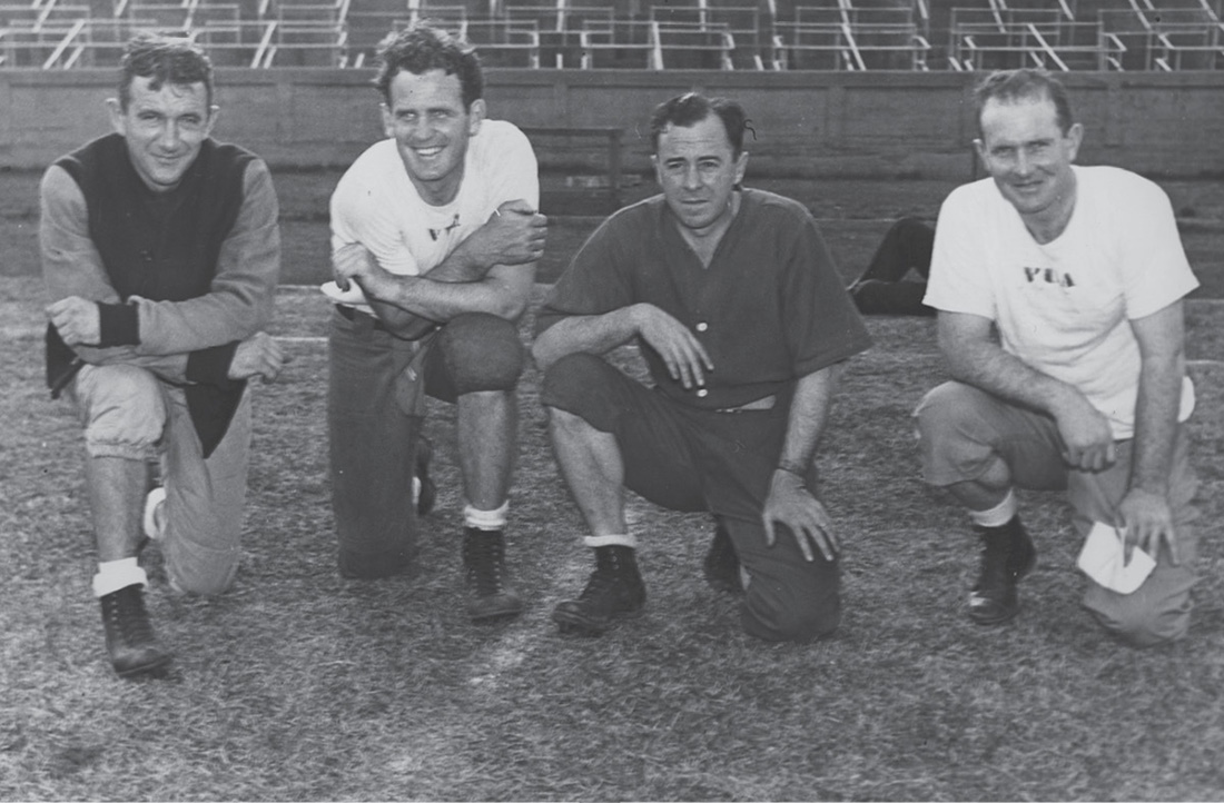 "Left to right: Vanderbilt Head Coach Red Sanders and assistant coaches Paul ""Bear"" Bryant, H.E. Alley and Jim Scoggins in 1940. (VANDERBILT SPECIAL COLLECTIONS AND UNIVERSITY ARCHIVES)"