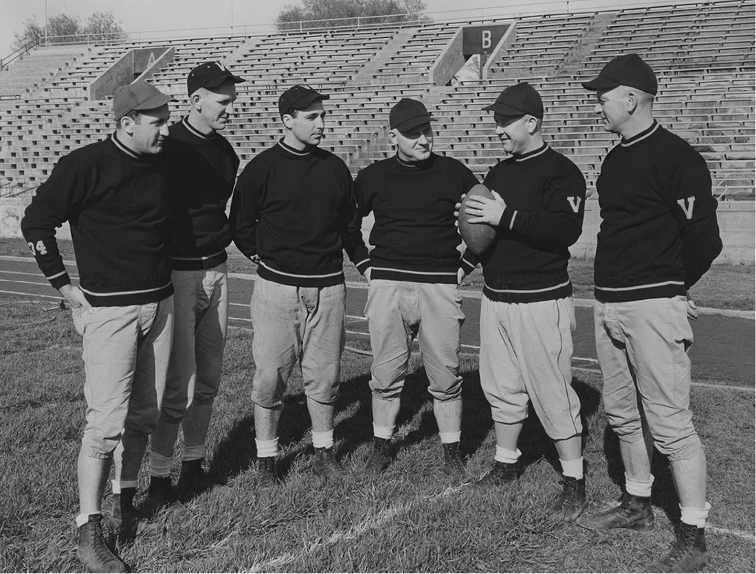 Steve Belichick, at far left, was a Vanderbilt assistant coach under Bill Edwards from 1949 to 1952. He is the father of New England Patriots coach Bill Belichick. (VANDERBILT SPECIAL COLLECTIONS AND UNIVERSITY ARCHIVES)