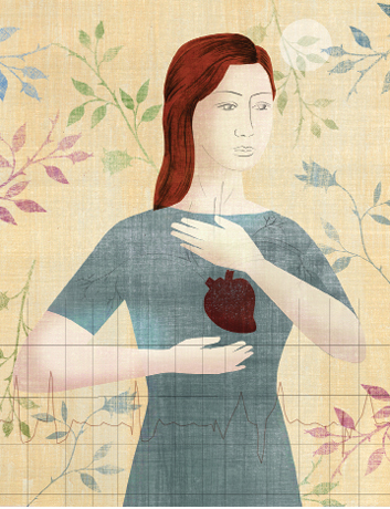 Illustration of woman with hands around her heart