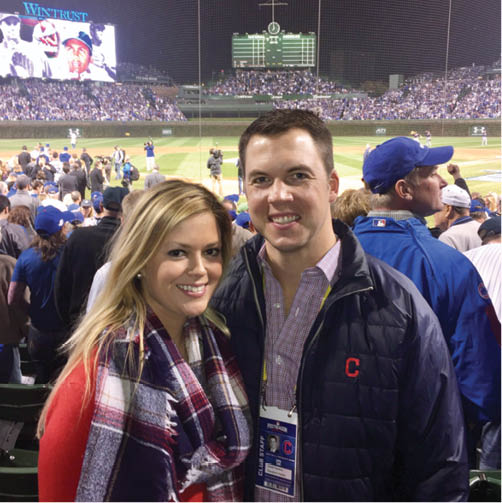 Hawkins and his fiancée, Lindsay Towry, at Chicago's Wrigley Field during the 2016 World Series (COURTESY CARTER HAWKINS)