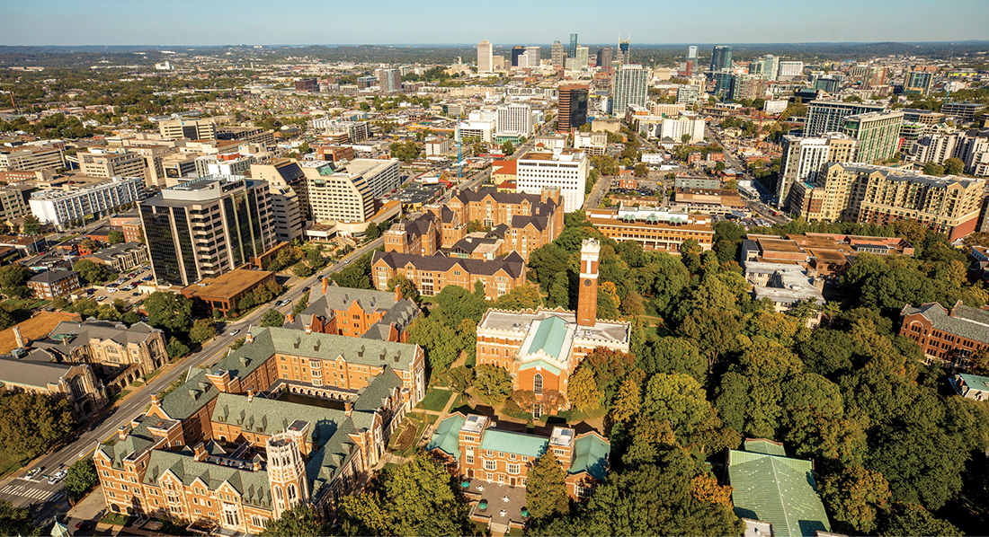 aerial photo of Vanderbilt's campus