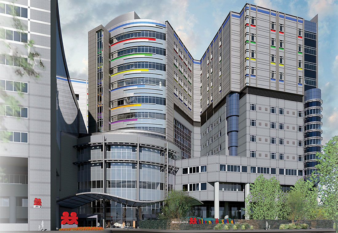 Shown in this architect's rendering, four floors are being added atop the existing Children's Hospital structure.