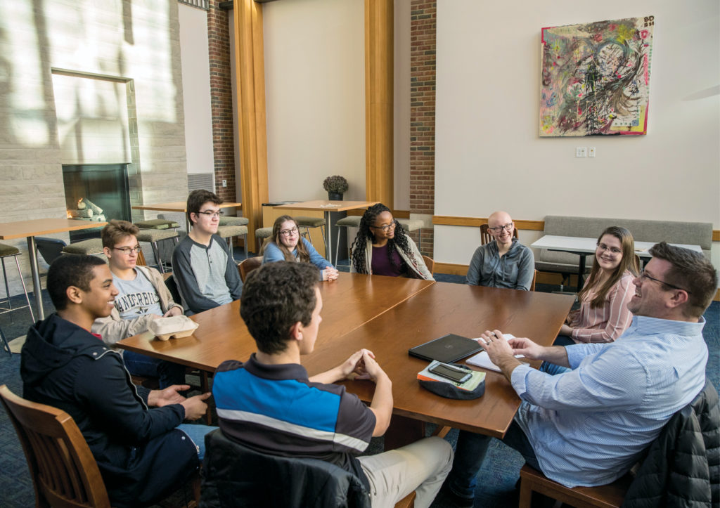 Professor of the Practice of Engineering Management Christopher Rowe, far right, meets with Vanderbilt's inaugural A. James Clark Scholars. (JOHN RUSSELL)
