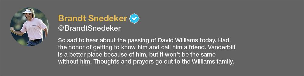 screenshot of Brandt Snedeker tweet about David Williams