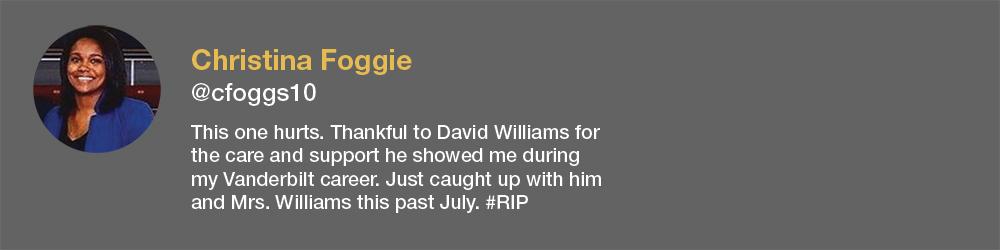 screenshot of Christina Foggie tweet about David Williams