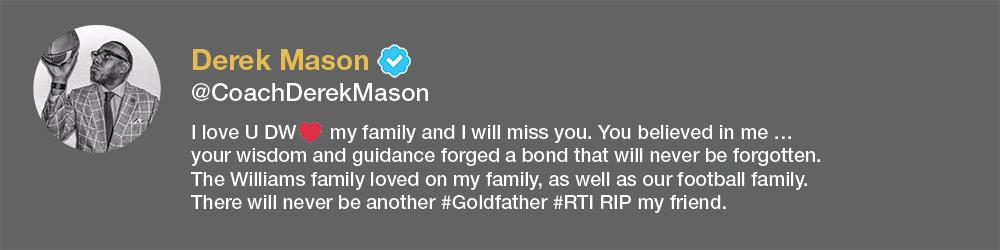 screenshot of Derek Mason tweet about David Williams