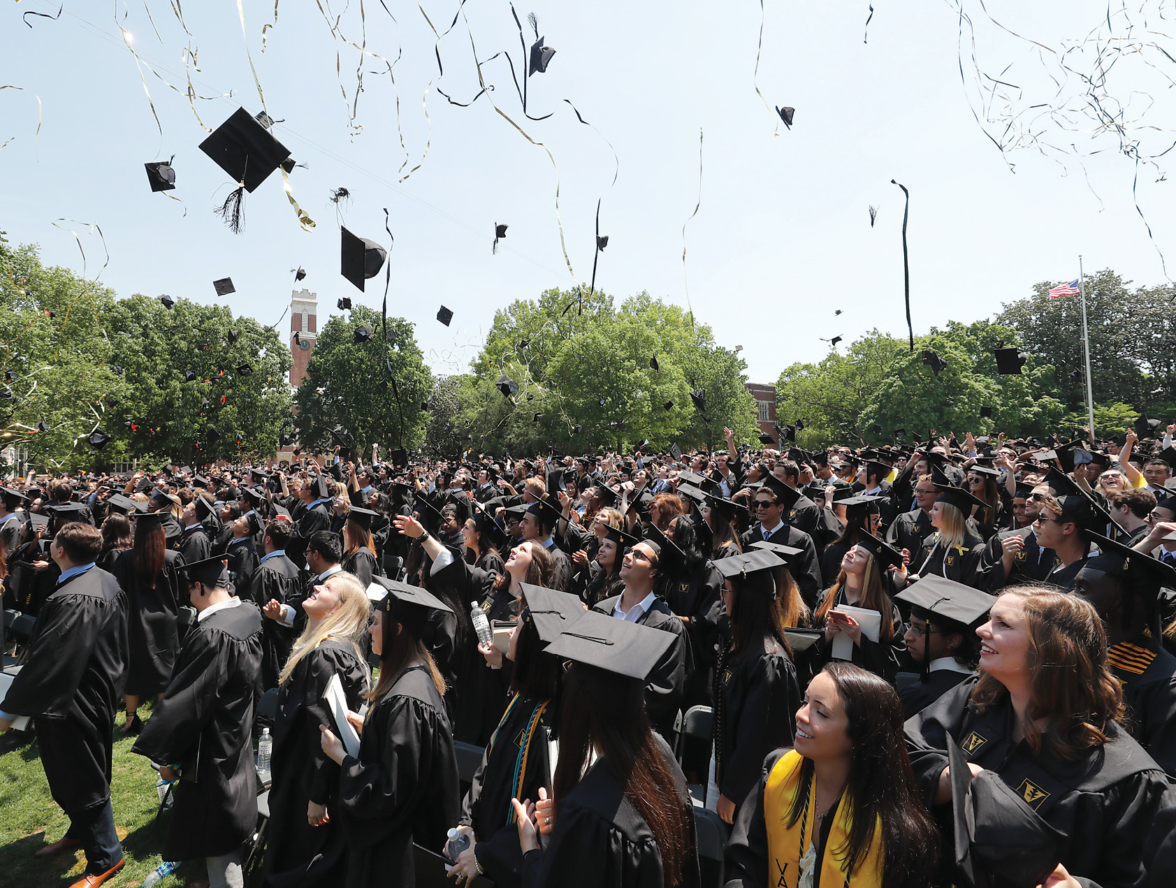 Chancellor Zeppos presided over a sunny May 11 Commencement ceremony at which 1,740 undergraduate and 2,160 graduate and professional students received their Vanderbilt degrees in front of thousands more friends and relatives. (JOHN RUSSELL)