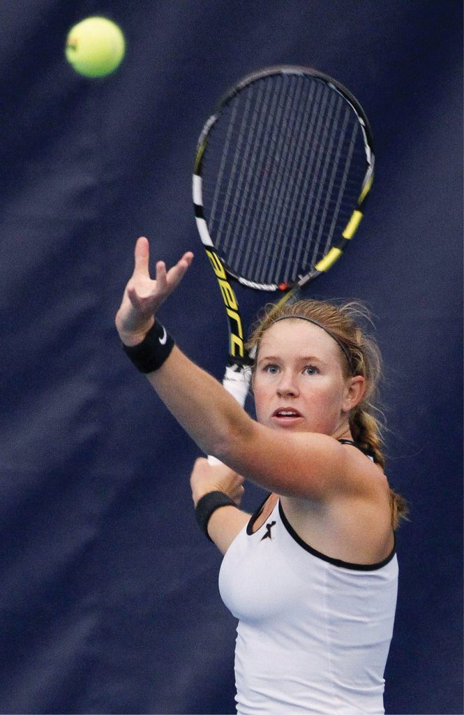 ITA All-American Frances Altick fights for a win against Stanford.