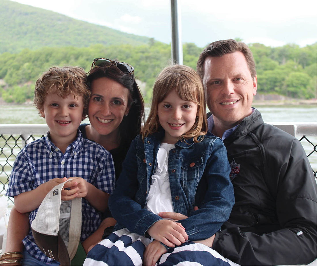 Christina and Willie Geist with their two children, George William, 7, and Lucie Joy, 9 (COURTESY THE GEIST FAMILY)
