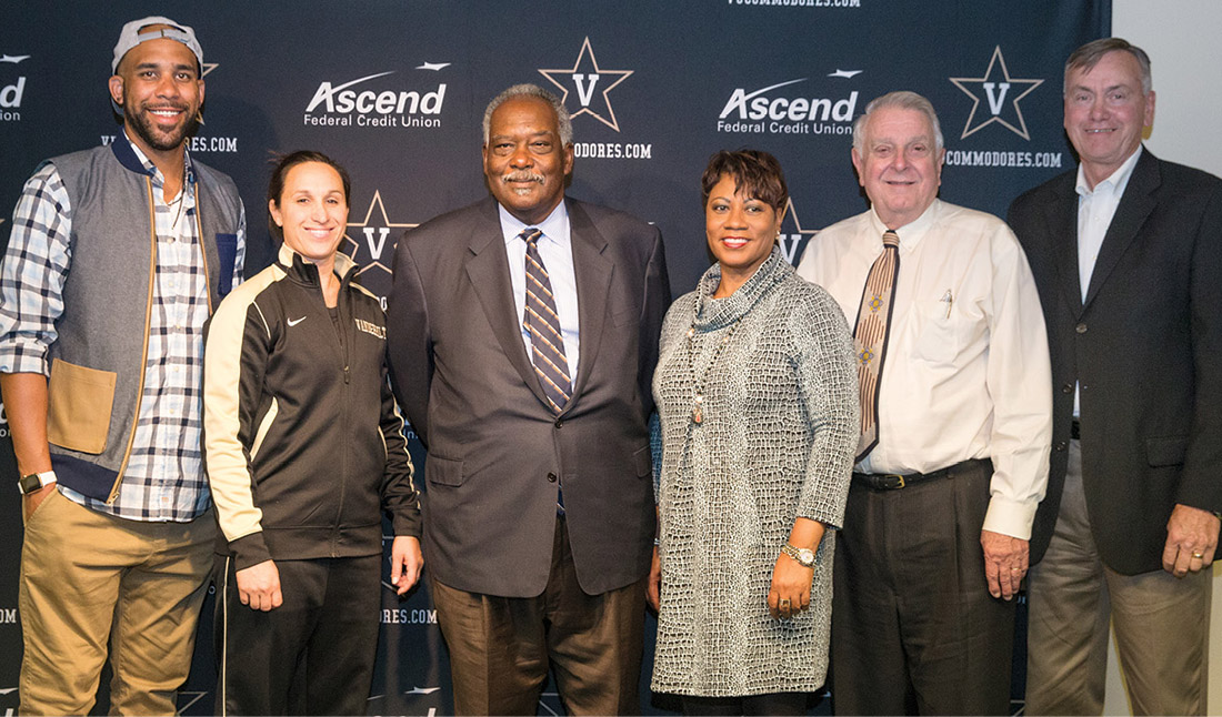 Left to right: Price, Tsoubanos, Athletics Director David Williams, Bender, Schmittou and Fosnes (JOE HOWELL)