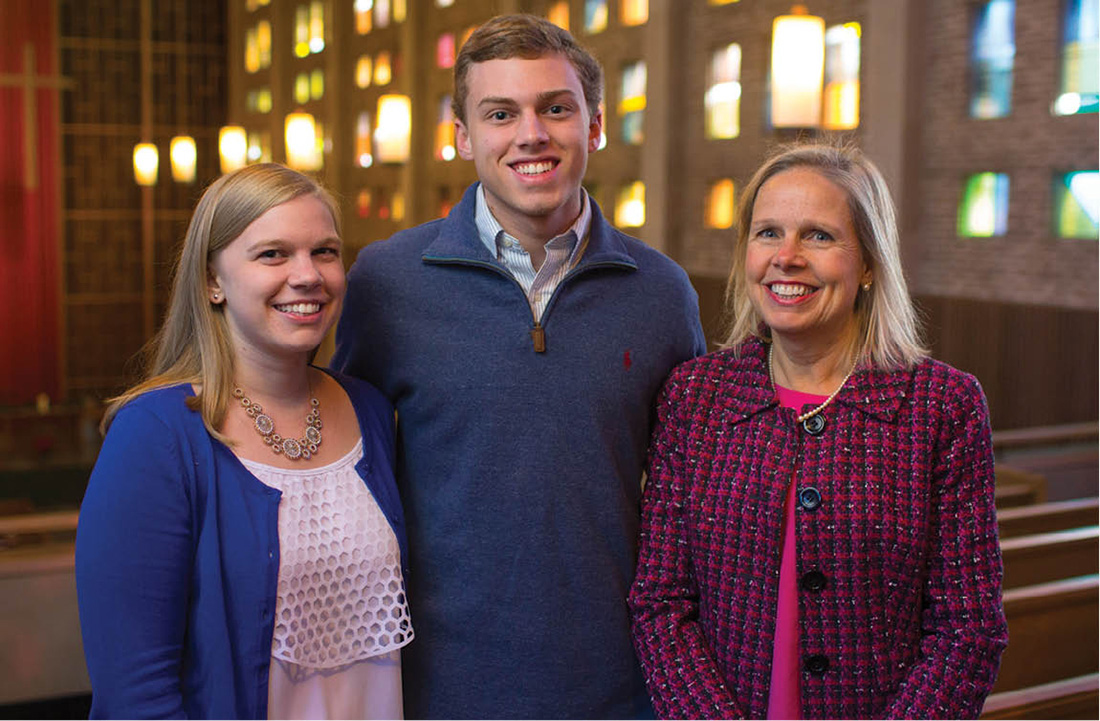 Lillian Harpole Hazelton, right, with two of her three children: Elizabeth Hazelton, a 2017 master of accountancy student, and John Hazelton, a first-year engineering student studying computer science. Not pictured is daughter Margaret Ann Hazelton, MEd'13. (DANIEL DUBOIS)