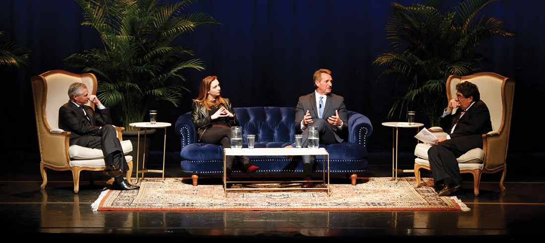 photo of Jeff Flake, Zoe Chace, Chancellor Zeppos and Jon Meacham sitting on stage