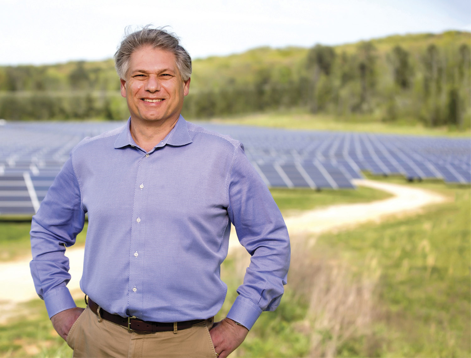 Matt Kisber, president and CEO of Silicon Ranch, at the solar farm his company constructed for Volkswagen in Chattanooga, Tennessee (JOE HOWELL)