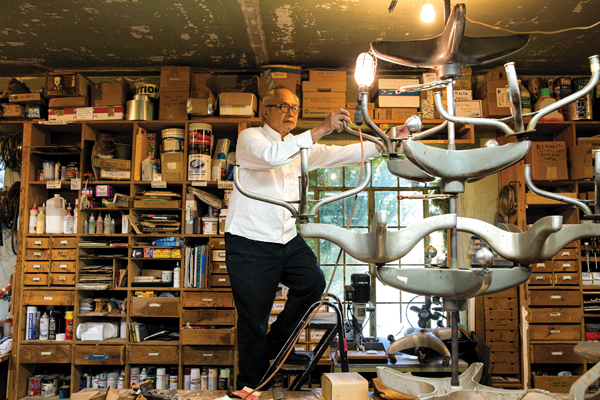 Chin, shown creating in his workshop, is known for his large-scale art installations. Photo courtesy of the John D. and Catherine T. MacArthur Foundation